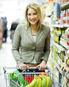 woman pushing cart with pressure cooker food